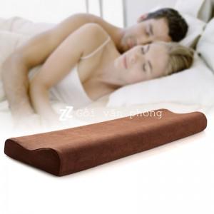 Gối ngủ đôi cao su non 1m2 vỏ nhung GDH-05